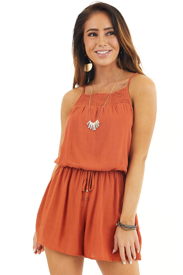 Burnt Orange Sleeveless Romper with Elastic Waistline front close up