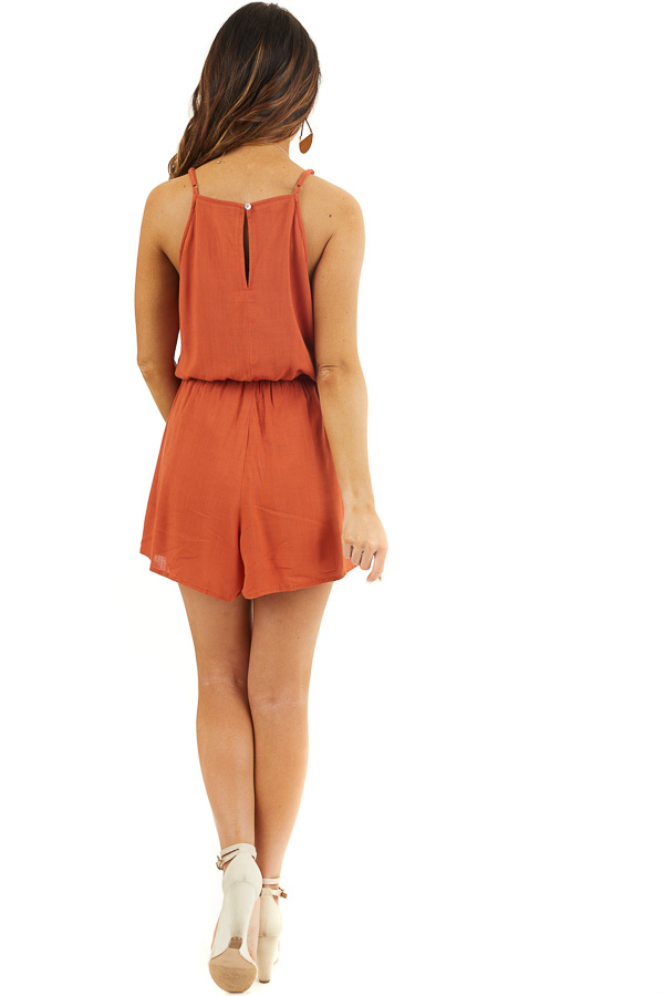 Burnt Orange Sleeveless Romper with Elastic Waistline back full body