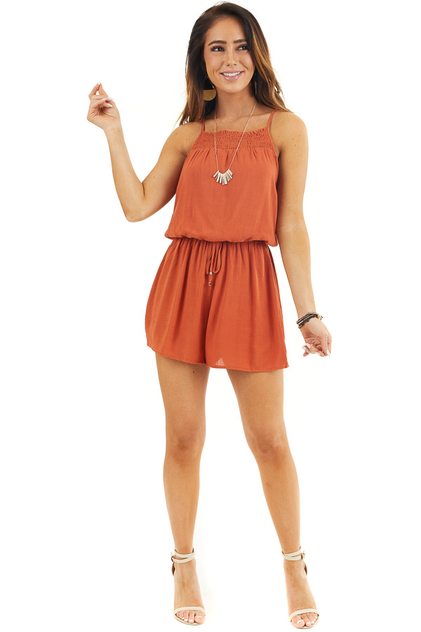 Burnt Orange Sleeveless Romper with Elastic Waistline front full body