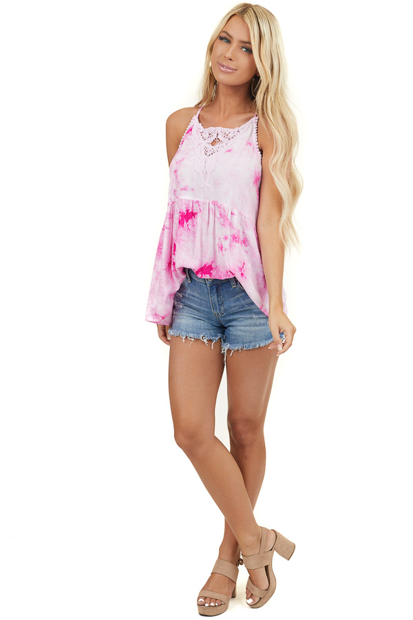 Baby Pink Tie Dye Woven Tank Top with Crochet Neck Detail