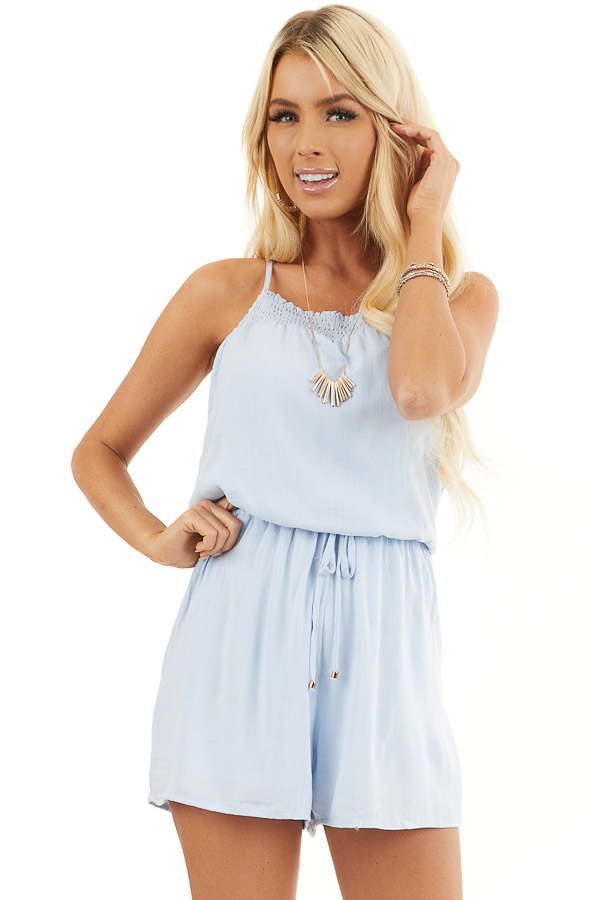 Sky Blue Sleeveless Woven Romper with Elastic Waistline front close up