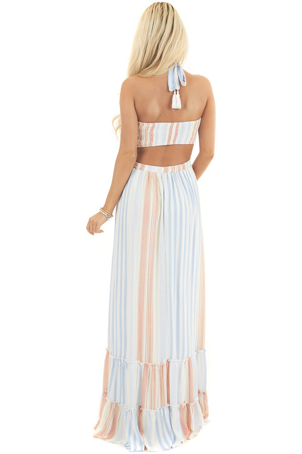 Multicolor Striped Sleeveless Maxi Dress with Smocking back full body