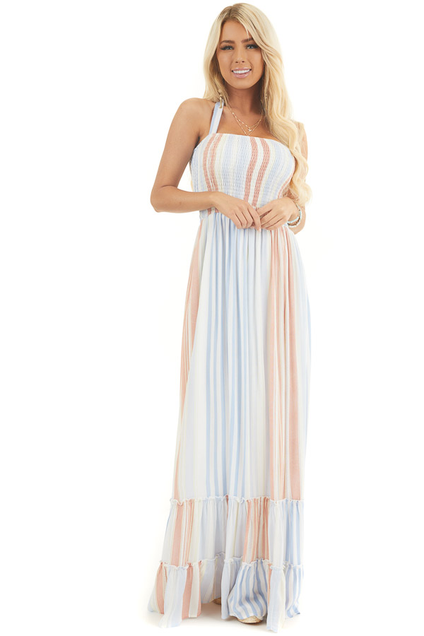 Multicolor Striped Sleeveless Maxi Dress with Smocking front full body