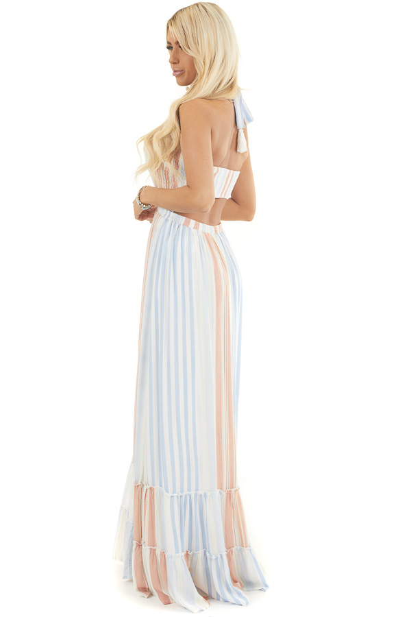 Multicolor Striped Sleeveless Maxi Dress with Smocking side full body
