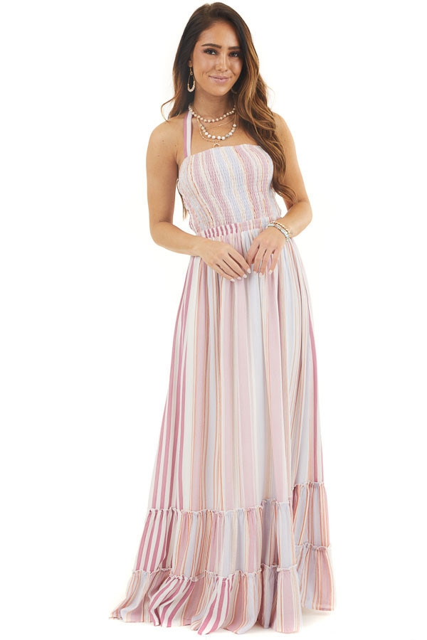 Mauve Striped Sleeveless Maxi Dress with Smocking front full body