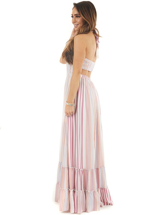 Mauve Striped Sleeveless Maxi Dress with Smocking side full body
