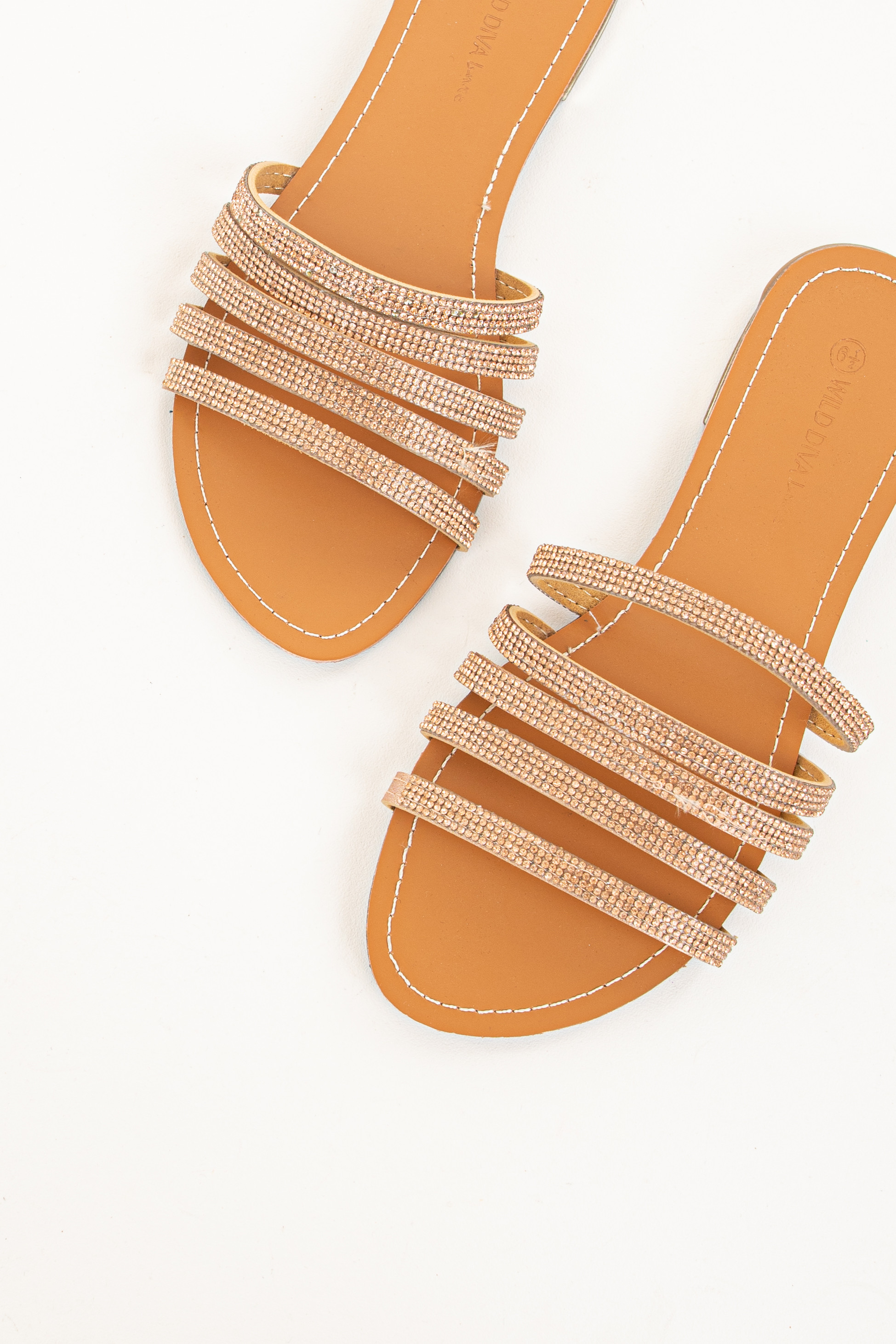 Rose Gold Strappy Slip On Sandals with Rhinestone Details