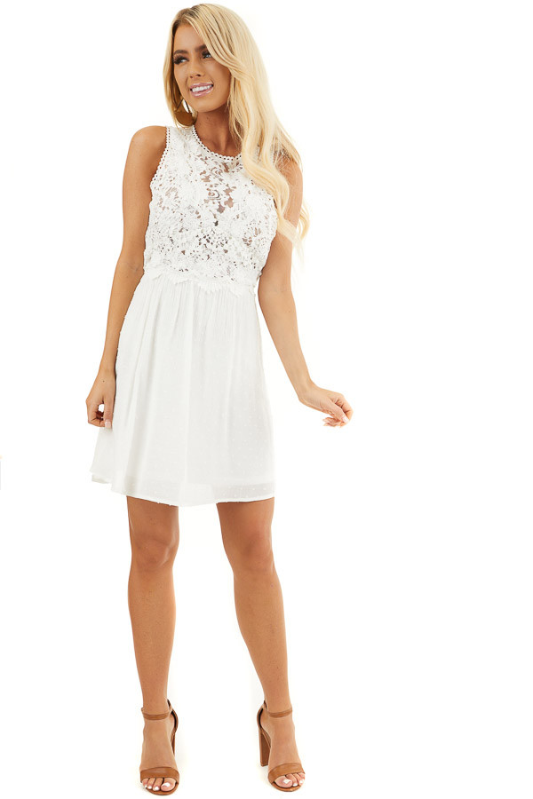 White Swiss Dot Sleeveless Mini Dress with Sheer Lace Bust front full body