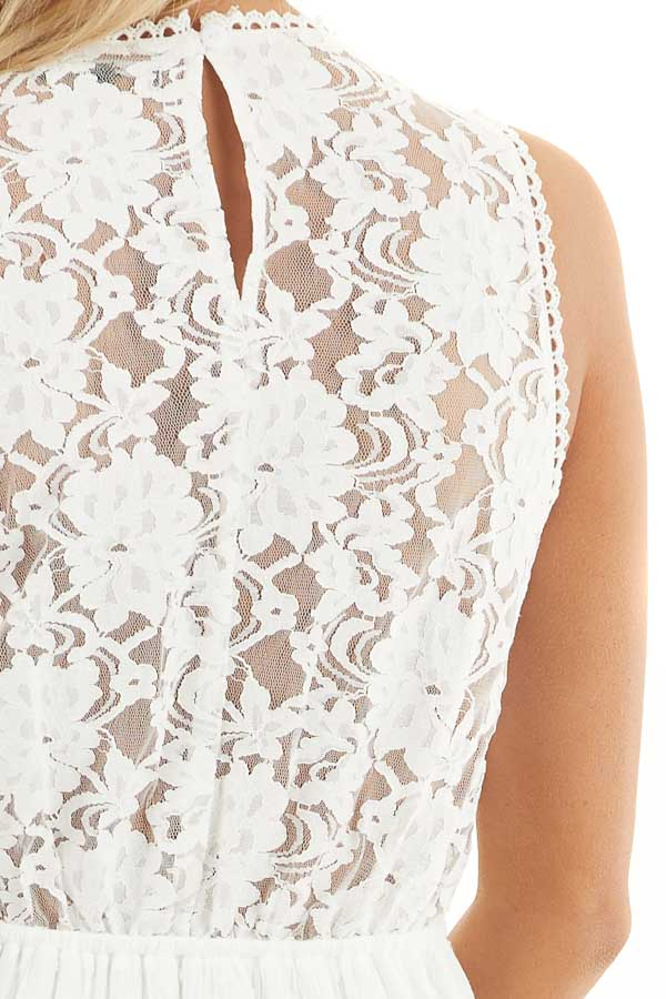 White Swiss Dot Sleeveless Mini Dress with Sheer Lace Bust detail