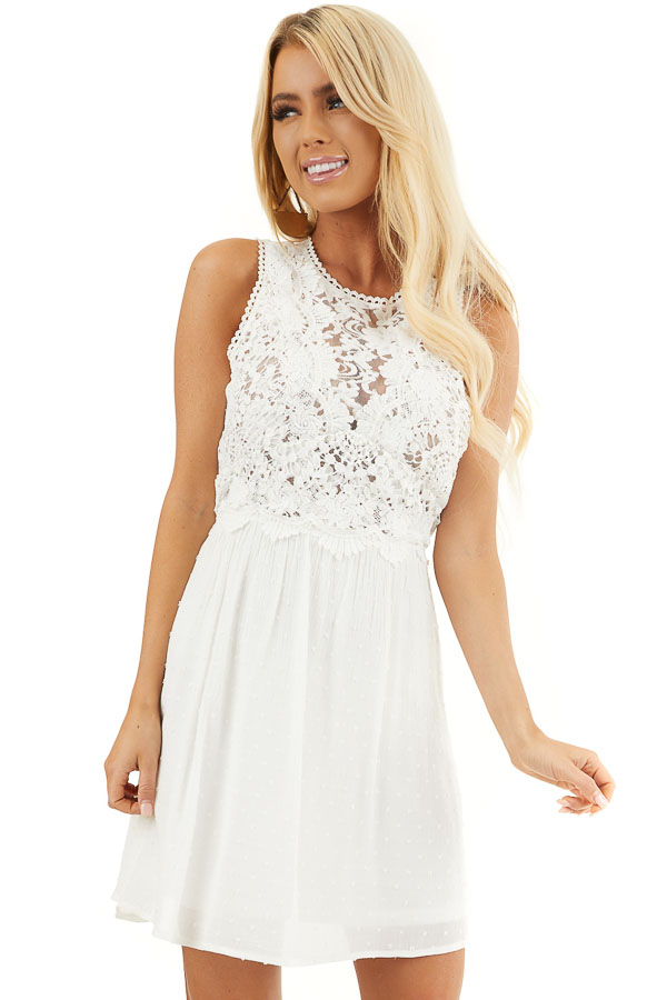 White Swiss Dot Sleeveless Mini Dress with Sheer Lace Bust front close up