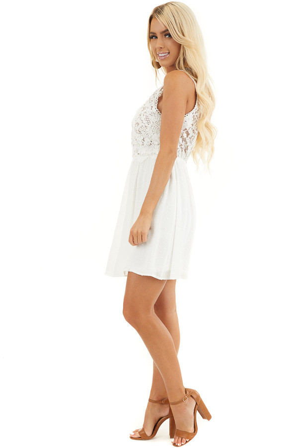 White Swiss Dot Sleeveless Mini Dress with Sheer Lace Bust side full body