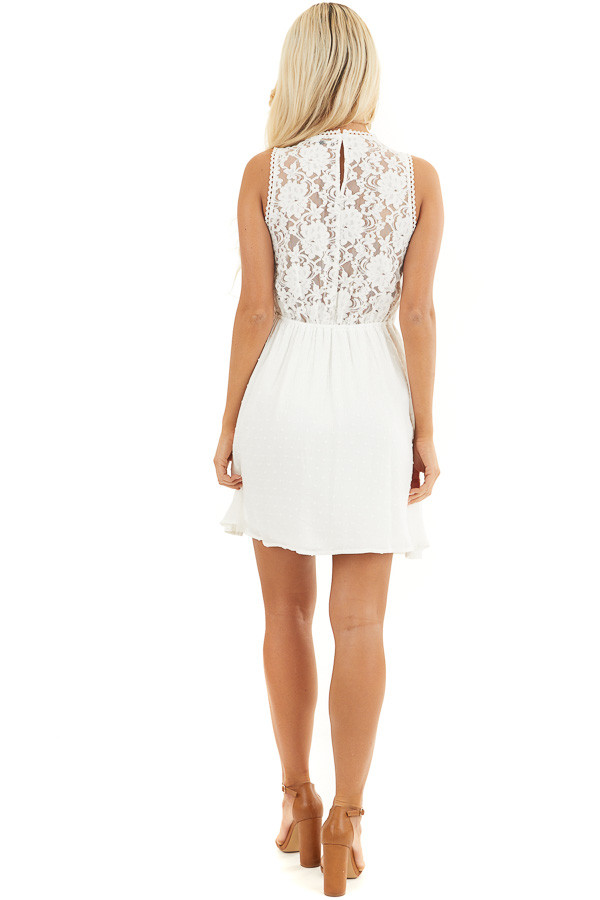 White Swiss Dot Sleeveless Mini Dress with Sheer Lace Bust back full body