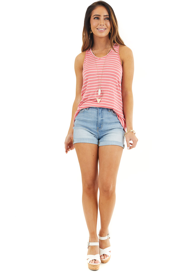 Coral and Ivory Striped Tank Top with Crocheted Lace Detail front full body
