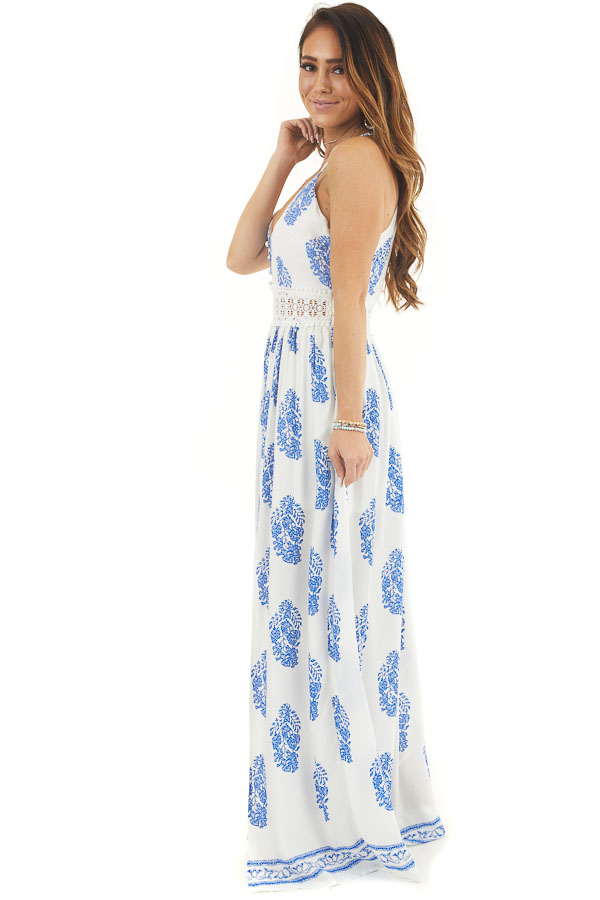 Ivory and Royal Blue Patterned Maxi Dress with Crochet Lace side full body