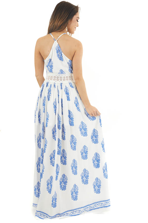 Ivory and Royal Blue Patterned Maxi Dress with Crochet Lace back full body