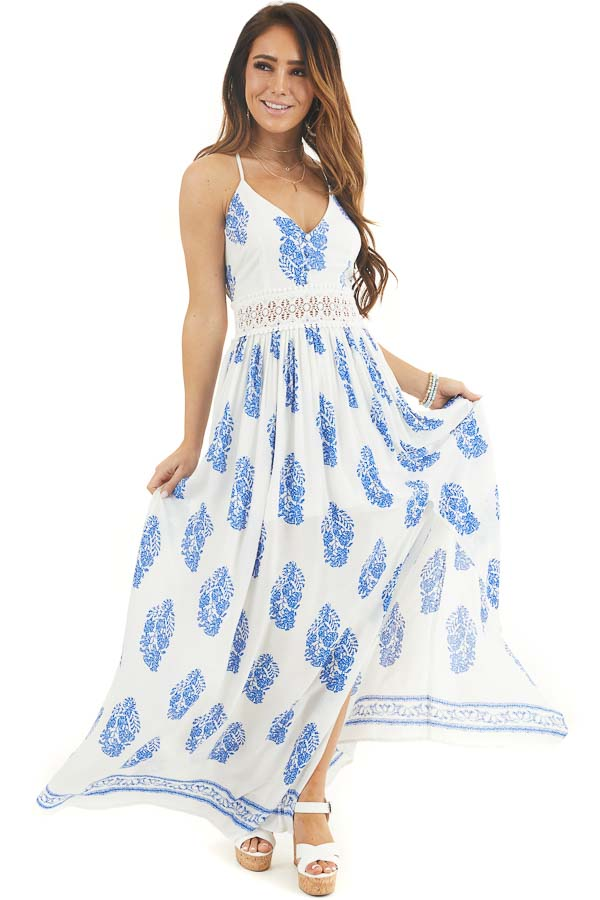 Ivory and Royal Blue Patterned Maxi Dress with Crochet Lace front full body