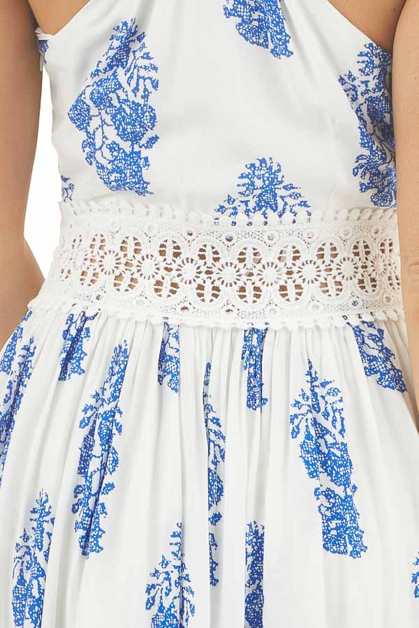 Ivory and Royal Blue Patterned Maxi Dress with Crochet Lace detail