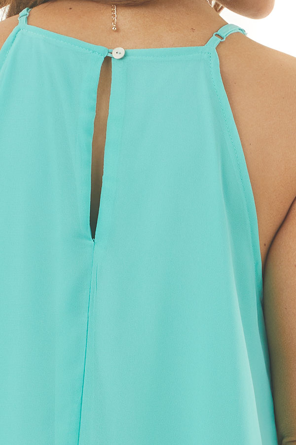 Aqua Sleeveless Halter Neck Mini Dress with Pleated Details detail
