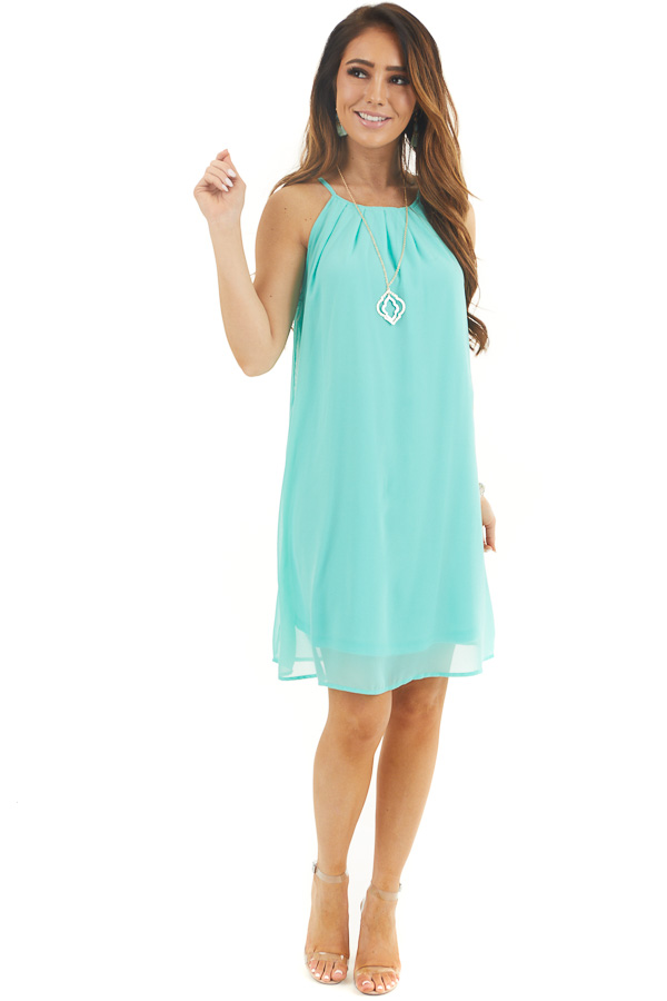 Aqua Sleeveless Halter Neck Mini Dress with Pleated Details front full body