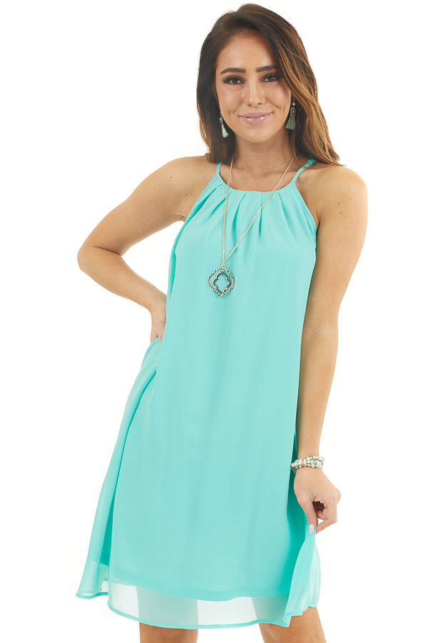 Aqua Sleeveless Halter Neck Mini Dress with Pleated Details front close up