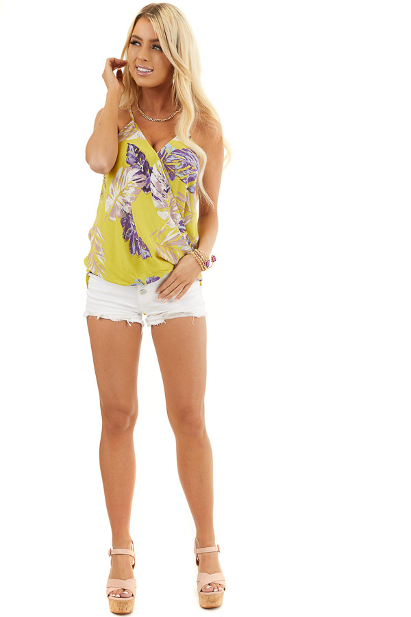 Mustard Tropical Print Surplice Tank with Spaghetti Straps front full body