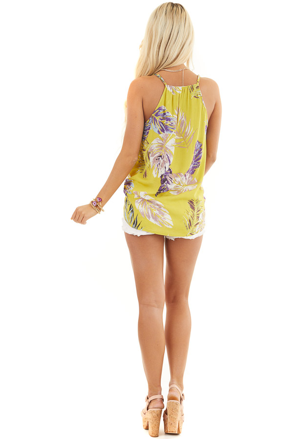 Mustard Tropical Print Surplice Tank with Spaghetti Straps back full body