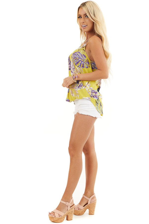 Mustard Tropical Print Surplice Tank with Spaghetti Straps side full body
