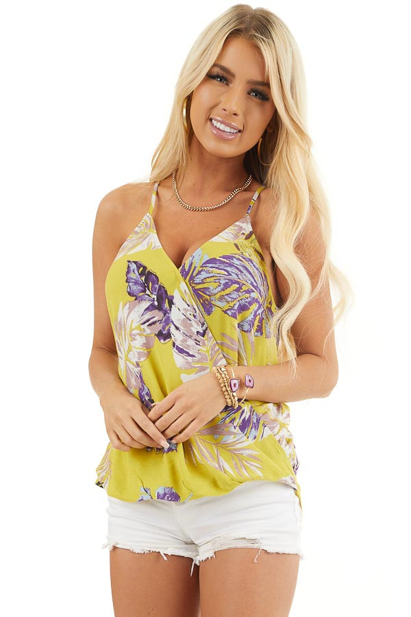 Mustard Tropical Print Surplice Tank with Spaghetti Straps front close up