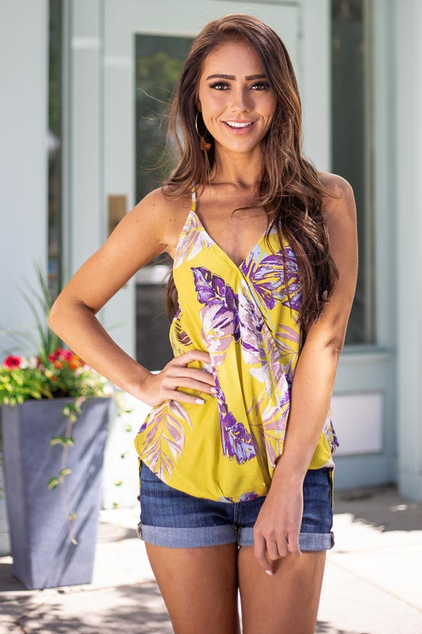 Mustard Tropical Print Surplice Tank with Spaghetti Straps