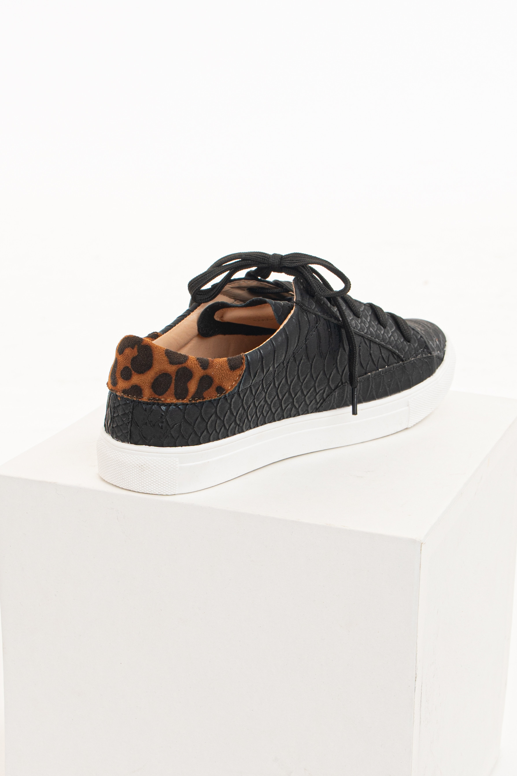 Matte Black Textured Sneakers with Leopard Print Details