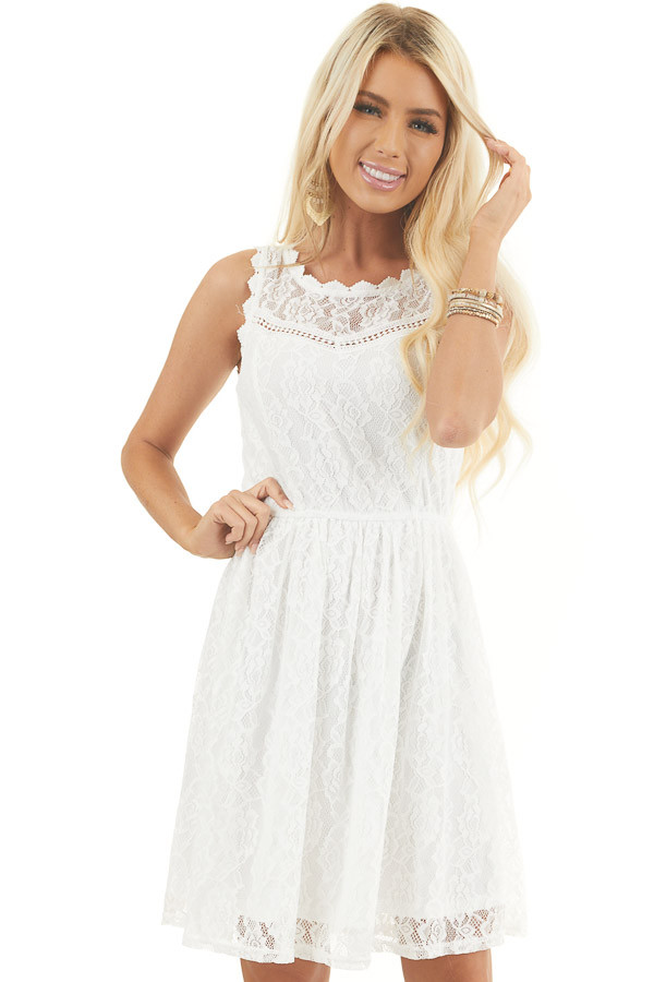 Off White Sleeveless Floral Lace Dress with Cinched Waist front close up