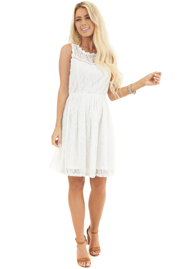 Off White Sleeveless Floral Lace Dress with Cinched Waist front full body