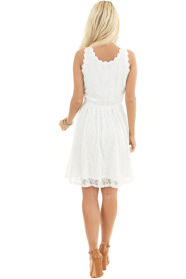 Off White Sleeveless Floral Lace Dress with Cinched Waist back full body