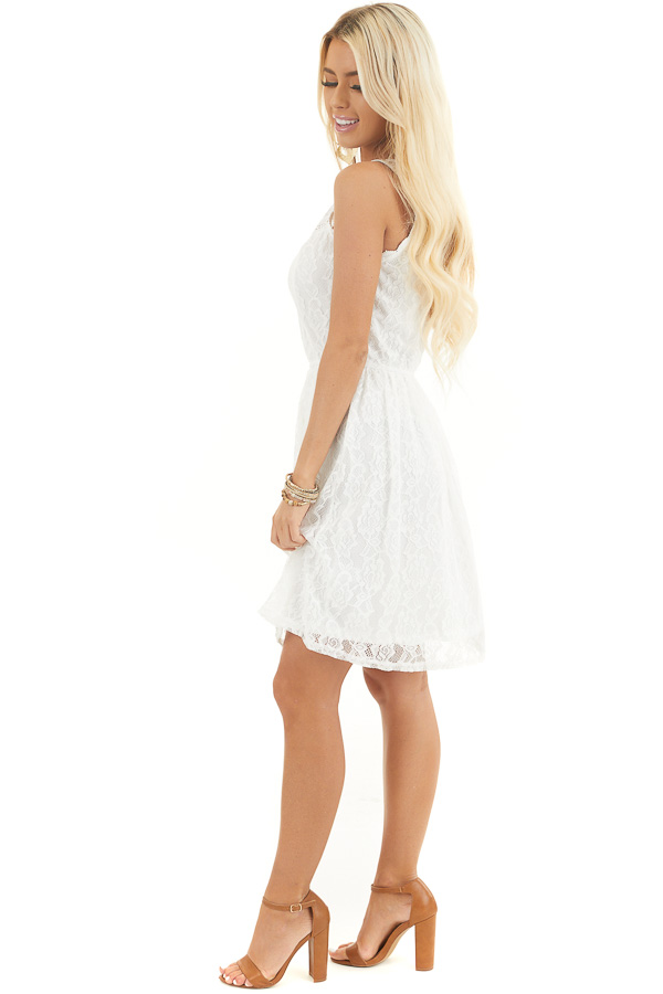 Off White Sleeveless Floral Lace Dress with Cinched Waist side full body