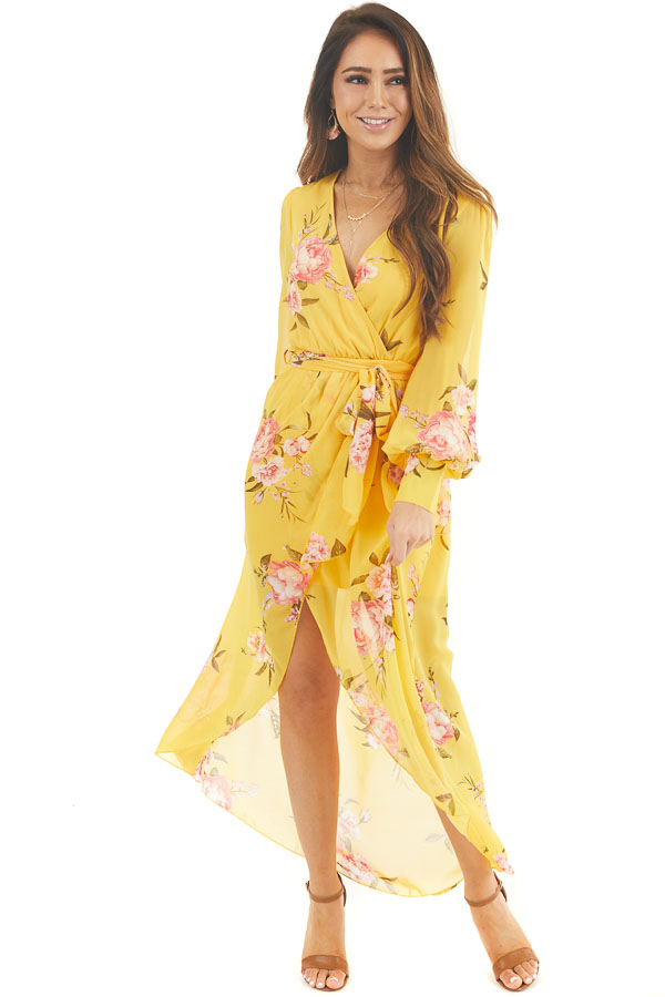 Honey Yellow Floral Print Long Sleeve High Low Dress front full body