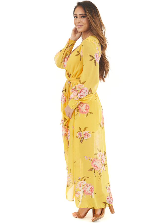 Honey Yellow Floral Print Long Sleeve High Low Dress side full body