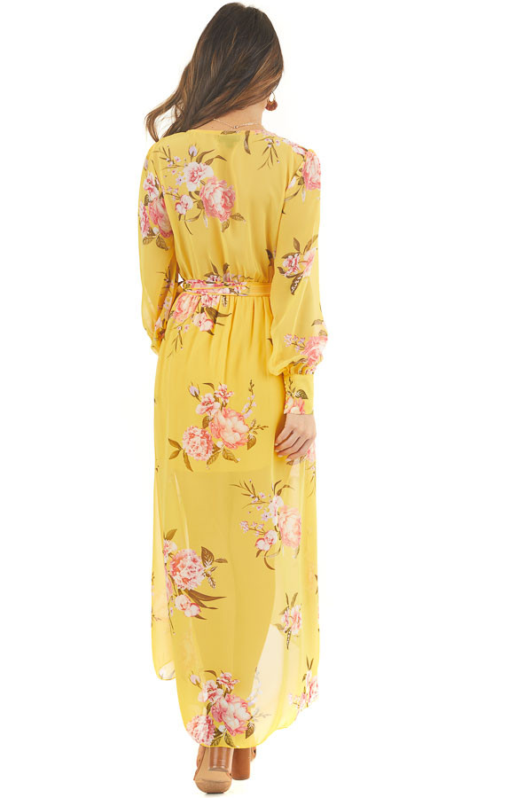 Honey Yellow Floral Print Long Sleeve High Low Dress back full body