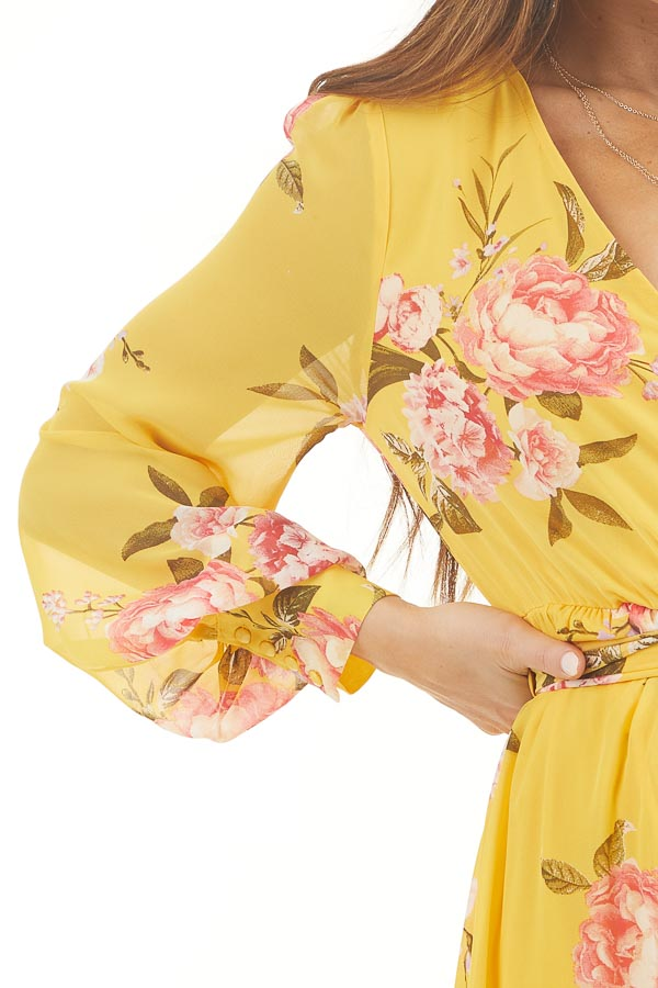 Honey Yellow Floral Print Long Sleeve High Low Dress detail