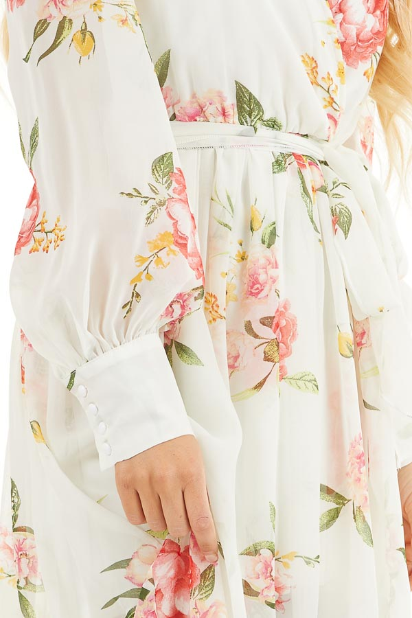 Ivory Floral Print Long Sleeve Maxi Dress with V Neckline detail
