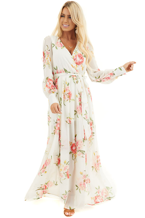 Ivory Floral Print Long Sleeve Maxi Dress with V Neckline front full body