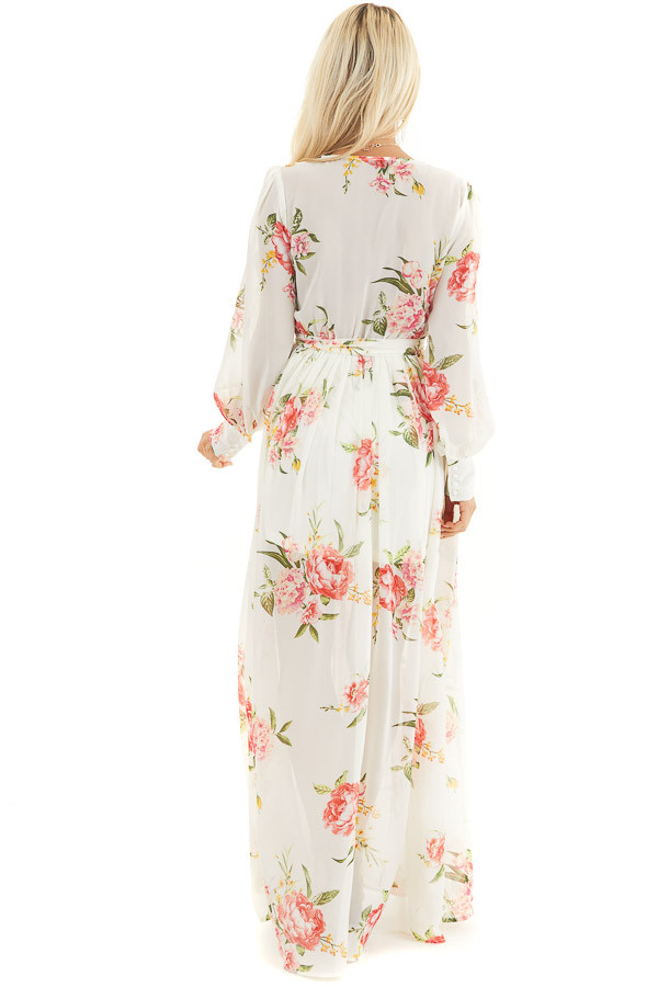 Ivory Floral Print Long Sleeve Maxi Dress with V Neckline back full body