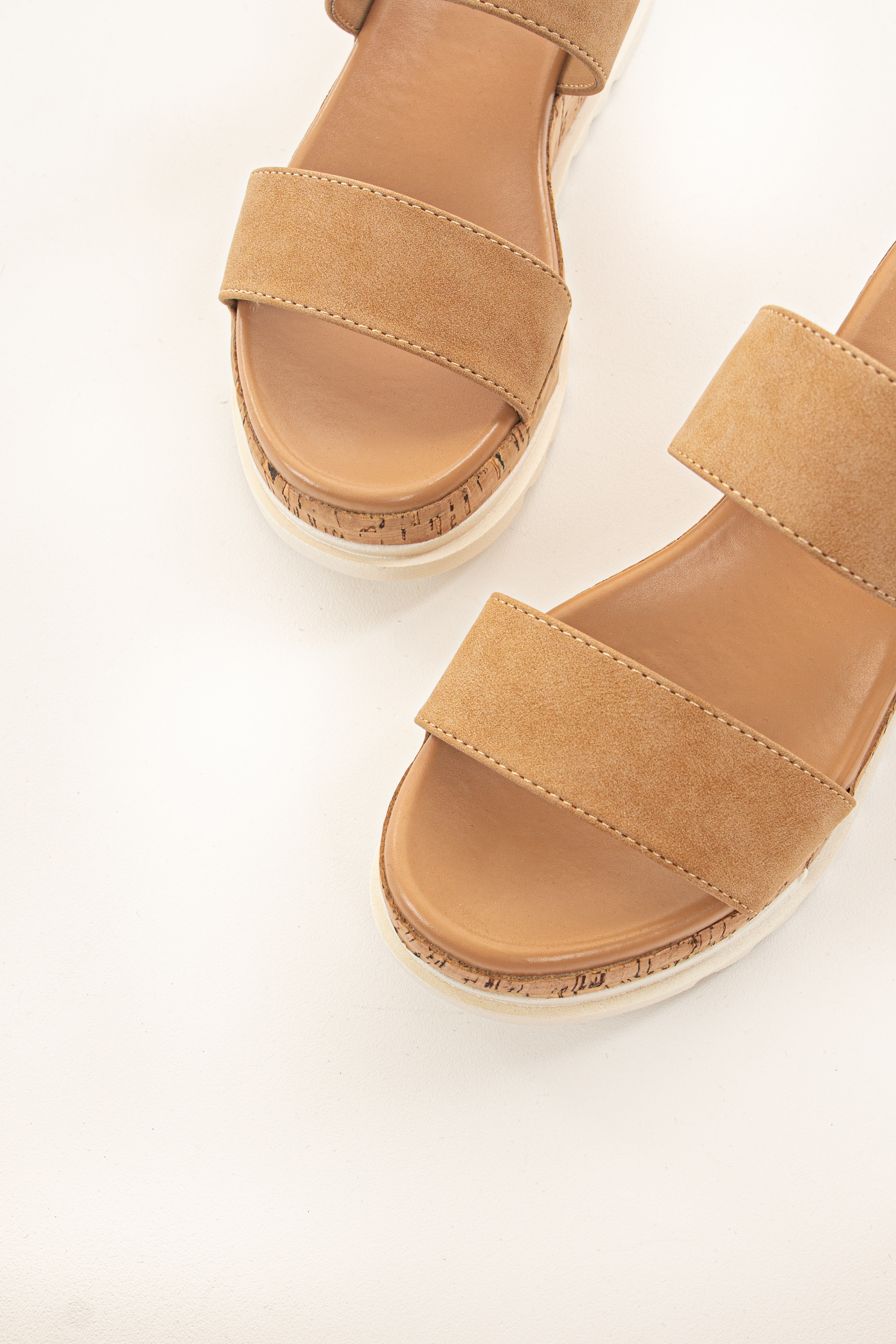 Camel Double Strap Slip Ons with White Tread Detail