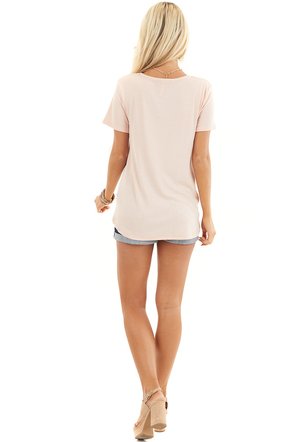 Blush Short Sleeve Ribbed Knit Top with Geometric Neckline back full body