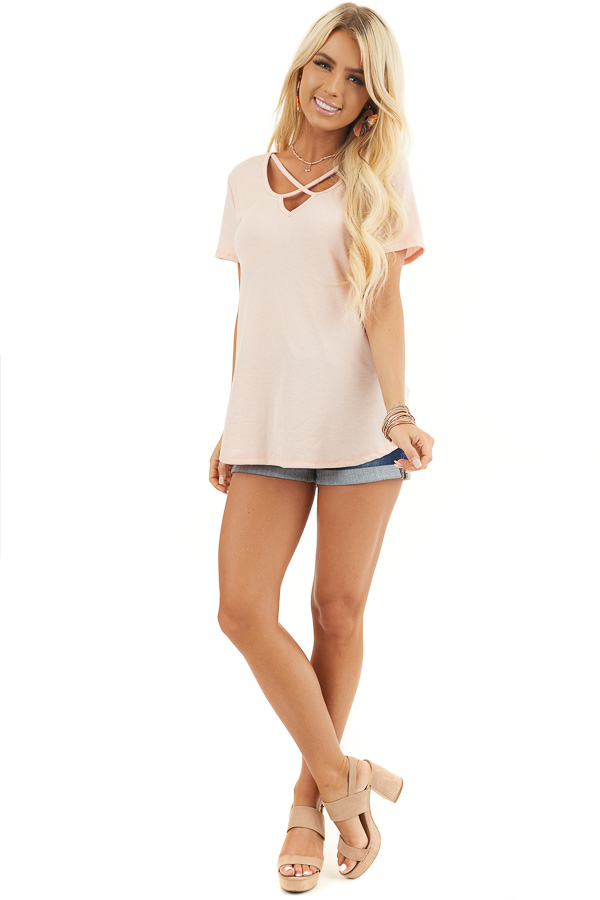 Blush Short Sleeve Ribbed Knit Top with Geometric Neckline front full body