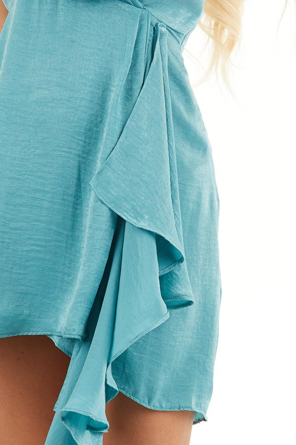 Teal Satin V Neck Surplice Dress with Draped Ruffle Detail detail