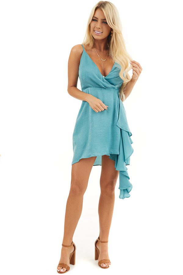 Teal Satin V Neck Surplice Dress with Draped Ruffle Detail front full body
