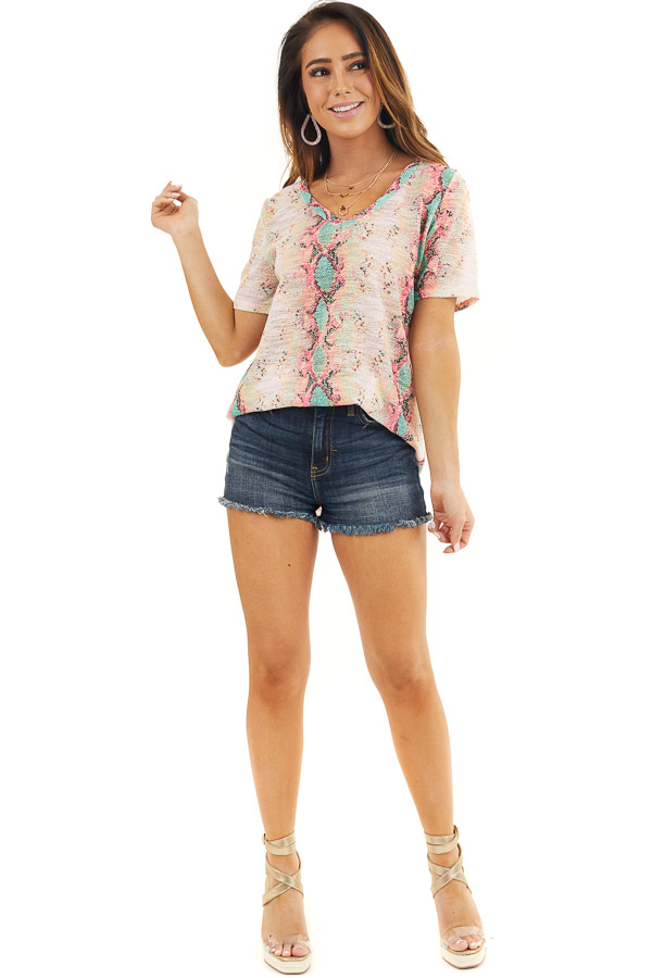 Pink Snakeskin Print Sheer Knit Top with Short Sleeves front full body