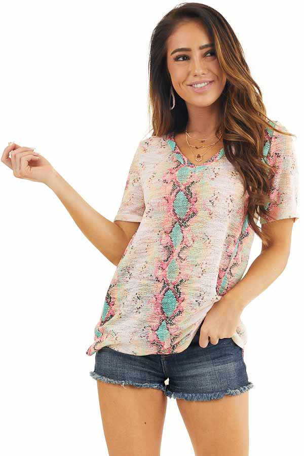 Pink Snakeskin Print Sheer Knit Top with Short Sleeves front close up