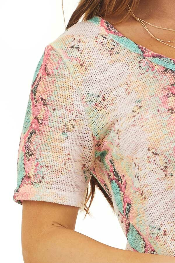 Pink Snakeskin Print Sheer Knit Top with Short Sleeves detail