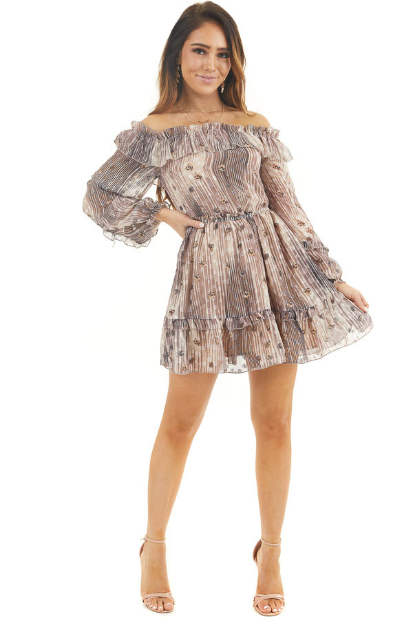 Mocha and Cream Off Shoulder Dress with Leopard Print Dots front full body